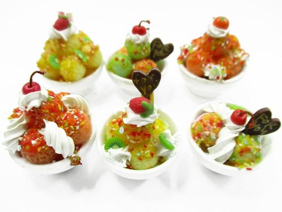 Dollhouse Miniatures Food 6 Mixed Ice Cream Sundae Ceramic Cup Supply 13952