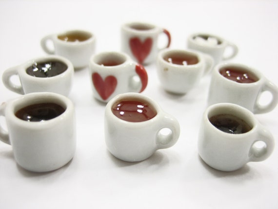 10 Coffee Cup and Saucer  Acrylic Plastic Dolls House Miniatures Supply Deco