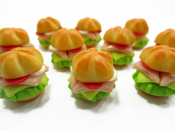10 Ham Sandwich And Cheese Dollhouse Miniatures Food Deco