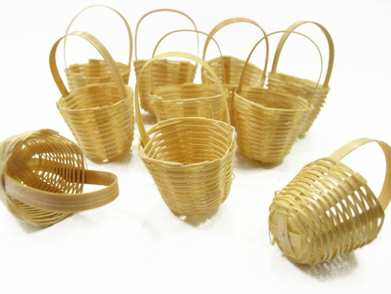 5x Oval White Weave Wicker Rattan Basket Dollhouse Miniatures Supply Accessories