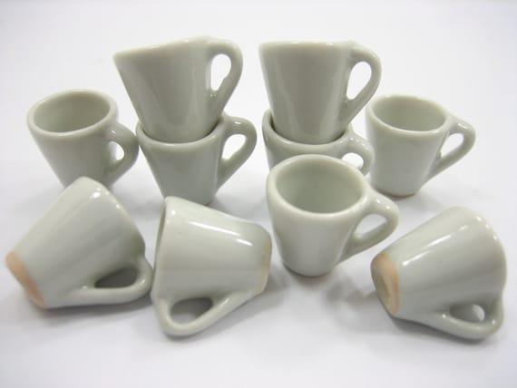Set 10 White Coffee Mug Tea Cup Dolls House Miniature Ceramic #S Supply 5377