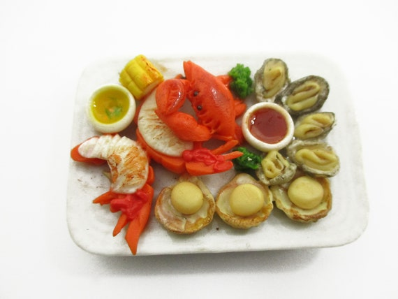 1:6 Barbie Dollhouse Miniature Food Seafood Lobster Crab Scallop Oyster 14713