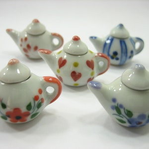 4 Coffee Teapot Green Paint Leaf  Dollhouse Miniature Ceramic Supply 12937