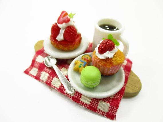 Dollhouse Miniature Food Plate Valentine Cup Cake Handmade Supply Charms 13686