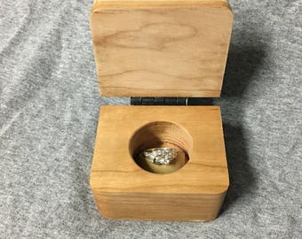 Engagement Ring Natural Cherry Wood Box