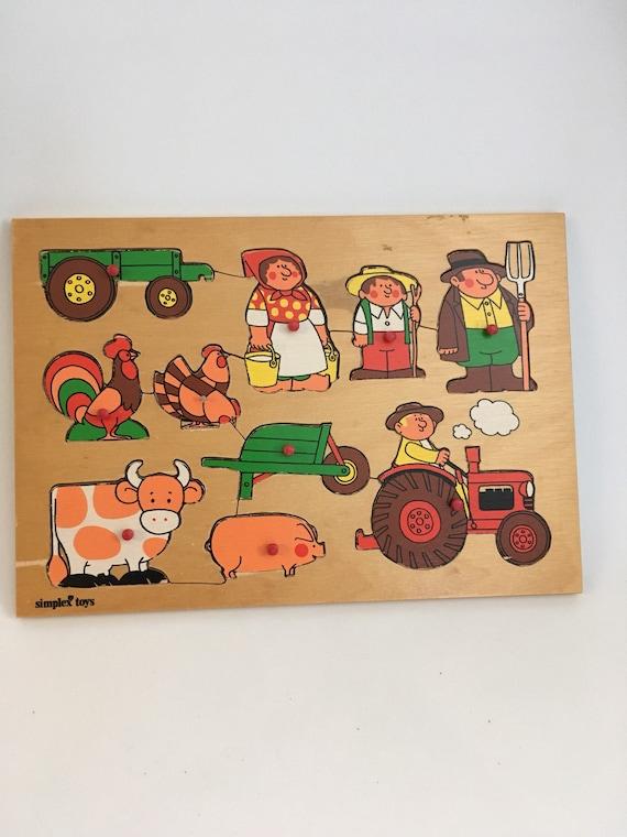 Zb /_ Bauernhof Auto Holz Stecker Puzzle Baby Kleinkind Vorschule