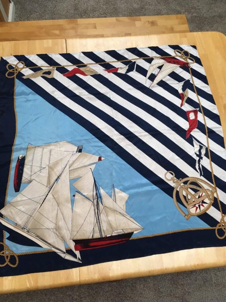 c4c1b30319516 Nautical Sailboat Print Scarf Vintage Sailor Motif Square | Etsy