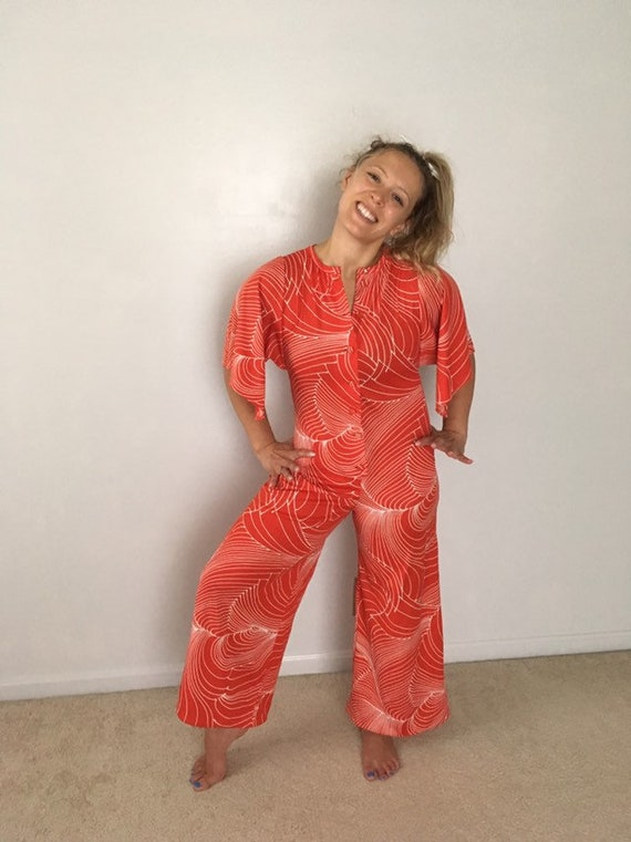 1970s Disco Jumpsuit Theater Supply Red Graphic Print Vintage Mod Jumpsuit Butterfly Sleeve Button Up One Piece Romper