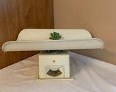 Vintage Baby Scale, Detecto Metal Scale, Table Top 30 pound Scale, White decor, Nursery decor, Dial Scale, Pediatric Scale