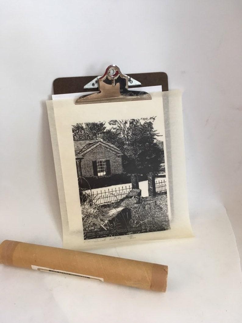 Lynchburg Tennessee Vintage Woodcut Print Bethel Cemetery TN Whiskey Distillery Memorabilia Signed Dan Quest Print Jack Daniels Art