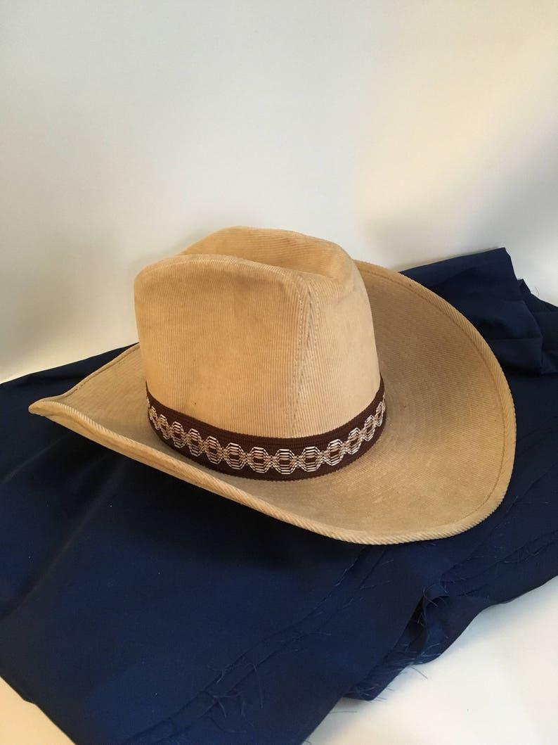 10d07b89987b6 Vintage Cowboy Hat Dorfman Pacific Studs Tan Corduroy