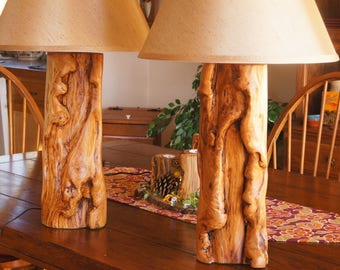 Bedroom or Living Room Lamp Set/Guest Room Decor/ Rustic Lamps/Rustic Lamp Set/Aspen Wood Lamp Set/Log Lamps/ Log Lamp Set/Table Lamp Set