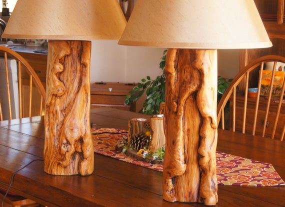 Bedroom or Living Room Lamp Set/Guest Room Decor/ Rustic Lamps/Rustic Lamp  Set/Aspen Wood Lamp Set/Log Lamps/ Log Lamp Set/Table Lamp Set