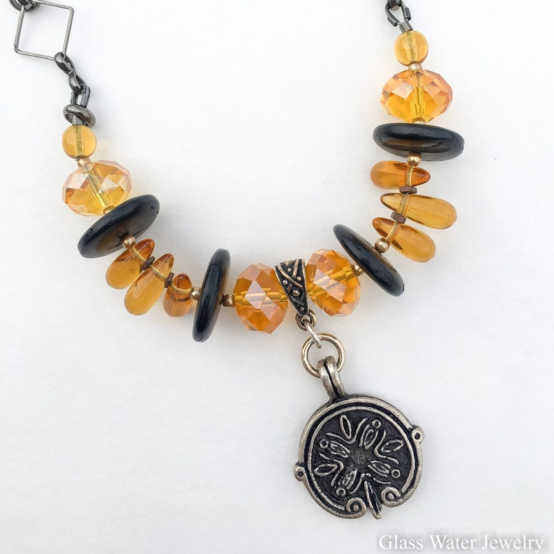 Amber Colored Faceted Glass Jewelry Wood Disc and Yellow Jewelry Beaded Yellow /& Brown Necklace Unique Chain and Amber Bead Earrings Set
