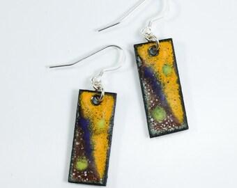Sterling Silver Artistic Metal Enamel Earrings, Copper Earrings, Abstract Earrings, Metal Enamel Earrings