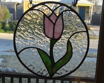 Stained Glass pink tulip
