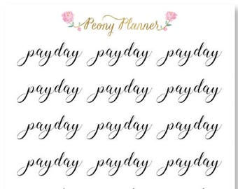 Payday Script Planner Stickers for use with ERIN CONDREN LIFEPLANNER™, Happy Planner, A5, Personal, Pocket, Travelers Notebook