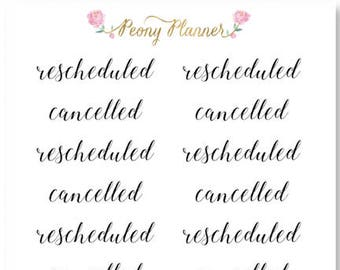 Rescheduled/Cancelled Script Planner Stickers for use with ERIN CONDREN LIFEPLANNER™, Happy Planner, Travelers Notebook