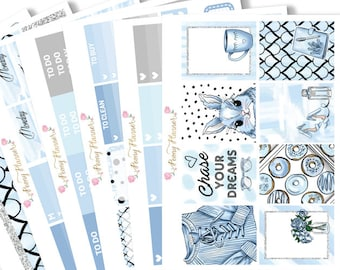 Dreamy Blue Planner Sticker Kit for use with ERIN CONDREN LIFEPLANNER™, Happy Planner, Travelers Notebook etc