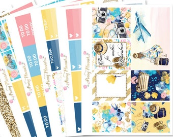Wanderlust Planner Sticker Kit for use with ERIN CONDREN LIFEPLANNER™, Happy Planner, Travelers Notebook etc