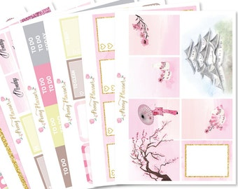 Cherry Blossom Planner Sticker Kit for use with ERIN CONDREN LIFEPLANNER™, Happy Planner, Travelers Notebook etc