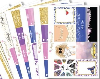 Carrie in the City Planner Sticker Kit for use with ERIN CONDREN LIFEPLANNER™, Happy Planner, Travelers Notebook etc