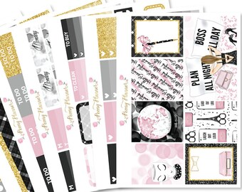 Boss Babe Planner Sticker Kit for Erin Condren, Happy Planner, Filofax, Kikki K, Kate Spade, Travelers Notebook etc