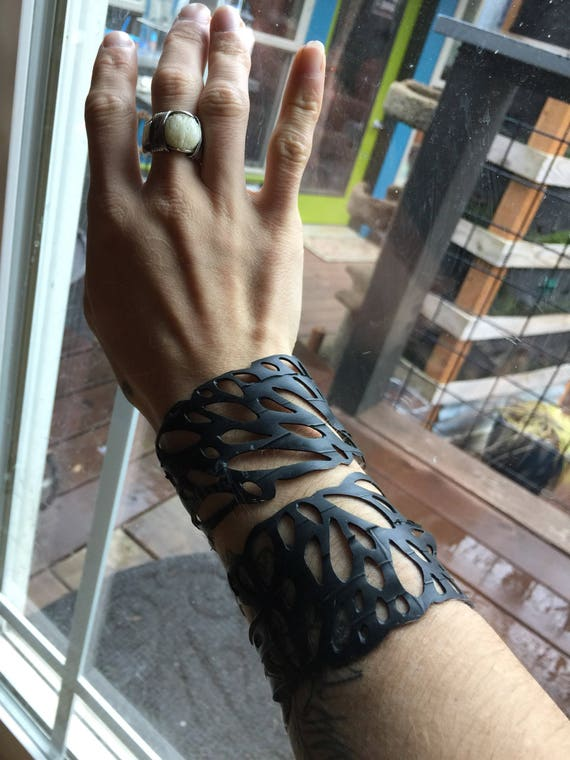 Handmade to order recycled rubber bracelets. Please choose a size!