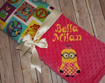 Character Blanket - Personalized Minky Baby Blanket - Groovy Print with Pink Minky