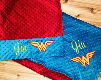 39ae4e50df Superhero Nap Set- Custom Monogrammed Minky Blanket   Pillowcase - Blue  Minky and Red Minky- Embroidered Superhero