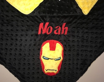 ebff1d327c Superhero Blanket- Personalized Minky Blanket -Yellow   Black Minky - Embroidered  Superhero - Ironman