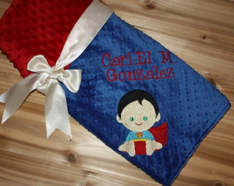 c3b0c62cb7 Superhero Blanket- Personalized Minky Blanket - Blue   Red Minky - Embroidered  Superhero