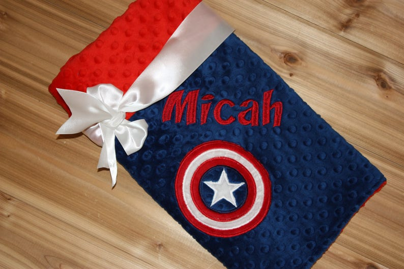 18efd2cdb8 Superhero Blanket Personalized Minky Blanket Blue   Red