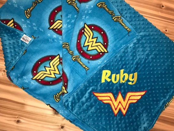 9e5099a7fe Superhero Blanket- Personalized Minky Blanket - Wonder Woman - Embroidered  Superhero