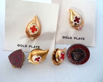 Collection of Vintage Red Cross Blood Donor Award Pins