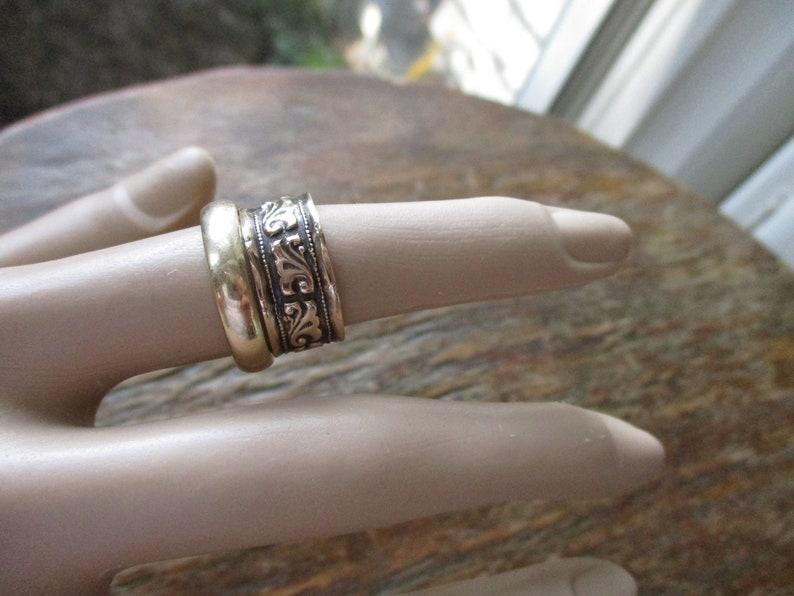 Antique 14K Rose Gold Wedding Band 14K Rose Gold Cigar Band Stacking Ring Scroll Designs Engraved 1899