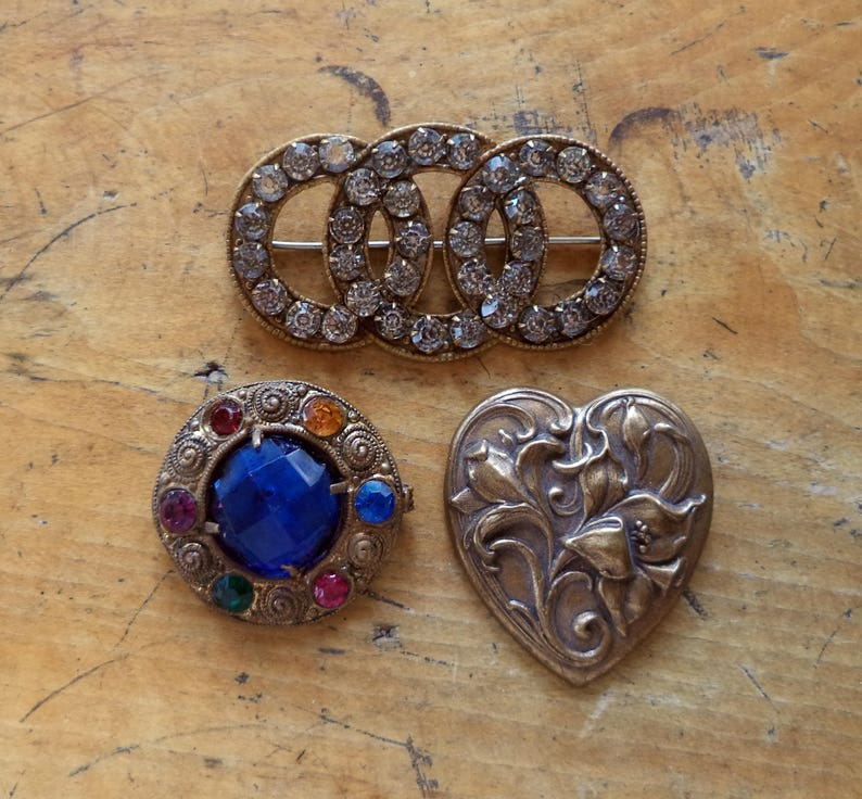 767923fad5854 Antique Brooches Signed CZECH Jewelry Rhinestones Repousse Pins Signed  Czech Jewelry C Catch LOT