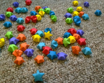 100 Rainbow Colored Handmade Origami Lucky Stars