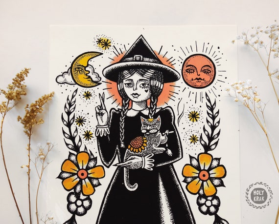 WITCH Art Print   Witch Decor   Tattoo girl   Witch Poster   Witchcraft art   Gothic Art   Wicca decor   Gothic Decor   Pagan Art