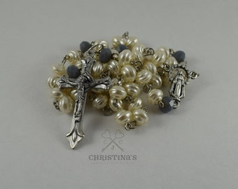 Catholic Rosary, White and Blue Rosary, White Rosary, Rosary, Crucifix, Gift, Gift for Her