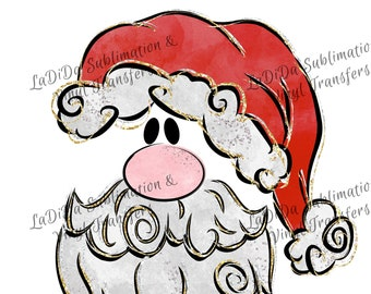 Santa with Red Silver Gold Hat and Beard VINYL Transfers - Santa Face  with MaskHTV HTV  Iron On