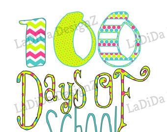 100 Days of School Arrow Sublimation Polka Dot Transfers Red Black Chevron Green Blue Bright Colors