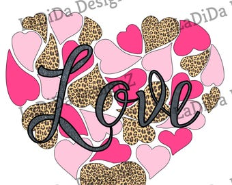 Leopard Pink Hot Pink Heart Collage Sublimation Transfers Valentines