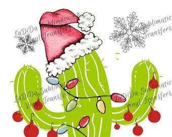 Christmas Cactus PNG Digital Download Ornaments Christmas Lights Santa Hat Snowflakes