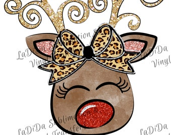 Reindeer with Leopard Bow Red Nose Pink Red Gold Glitter Sublimation Transfers Christmas Curly Antlers