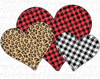 Triple Hearts Buffalo Plaid Leopard PNG Digital Download Three Stitched Hearts Black White Check Plaid Valentine