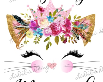 I'm Getting Meowied Boho Sublimation Transfer Feathers Pink Gold Eyelashes Flowers Cat Ears Crown