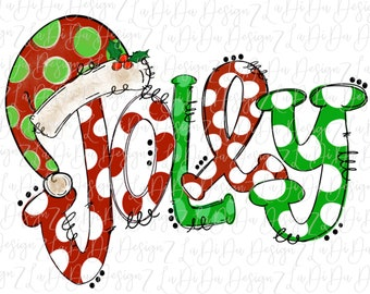 Jolly Polka Dots Green and Red Santa Hat SUBLIMATION Transfer - Red Green White Dots Holly