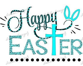 Happy Easter Cross Bright Blue and Black Sublimation Transfers Rabbit / Bunny Ears Polka Dots Leopard