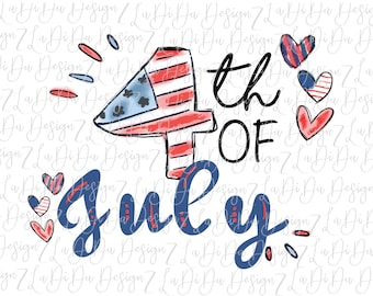 4th of July Patriotic Hand Drawn Hearts  DIGITAL PNG FILE Download Stars Stripes Red White Blue Drawn